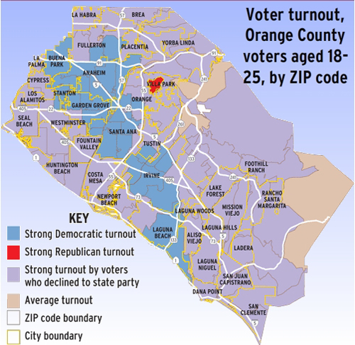 Orange County Political Map.Young Democrats Surge In Oc The Liberal Oc