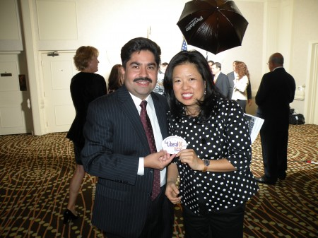 Truman Award winner State Rep. Jose Solorio and his wife tout TheLiberalOC in the VIP lounge (c) 2009, TheLiberalOC.com