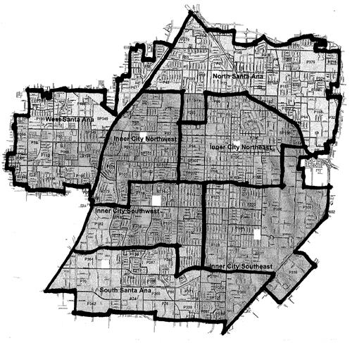 Samta Ana Map – The Liberal OC on gangs in california map, lapd gang injunction map, chicago gang turf map, monterey park ca map, santa ana el salvador map, city of houston ward map, san antonio crime map, ca santa ana ward map, highland park ca map, oakland crime map, main place mall aerial map, city of santa ana map, east la gang territory map, oakland gangs territory map, baldwin village los angeles map, orange county zip code map, pomona california map,