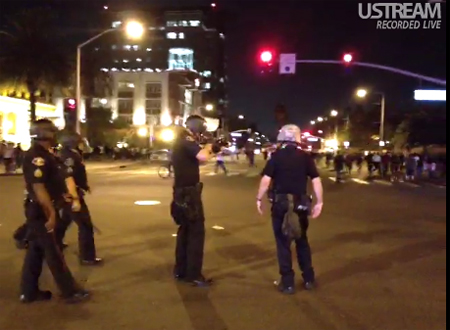 Police firing on protesters in Anaheim (Screen Capture Ustream @ timcast)