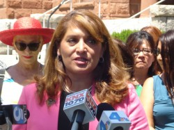 Fullerton Mayor Sharon Quirk-Sliva speaks at press conference calling for Attorney General investigation of Carlos Bustamante sexual abuse scandal. (Photo: LiberalOC.com)