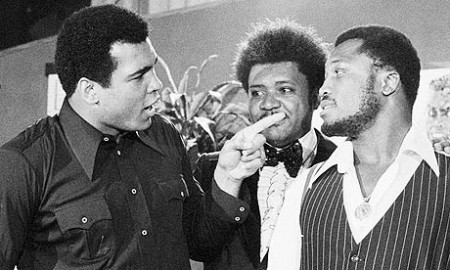 Muhammad Ali, left, points at the challenger Joe Frazier in New York City in May 1975, the build-up to the 'Thrilla in Manila' later that year. Standing between the heavyweights is the promoter Don King. Photograph: AP