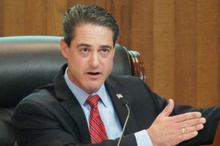 Supervisor Todd Spitzer speaks at a county Board of Supervisors meeting. (Photo by: Nick Gerda/Voice of OC)