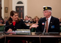 Assemblywoman Sharon Quirk-Silva and American Legion Chaplain Bill Cook at the Assembly Veterans Affairs Committee hearing on Tuesday April 29th, 2014
