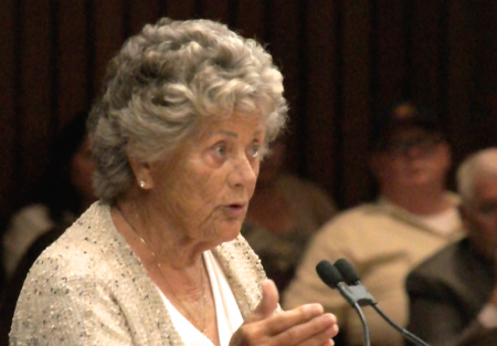 Local political watchdog Shirley Grindle addresses county supervisors in July. (Photo by: Nick Gerda/Voice of OC)