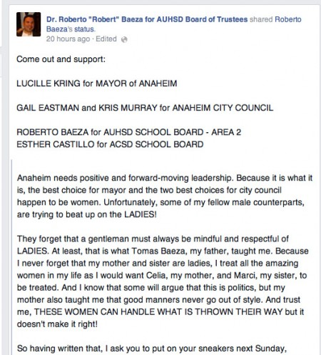 Facebook post on Dr. Baeza's Facebook page.