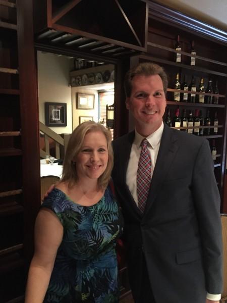 US Senator Kirsten Gillibrand (D-NY) with Anaheim council member Jordan Brandman in Costa Mesa